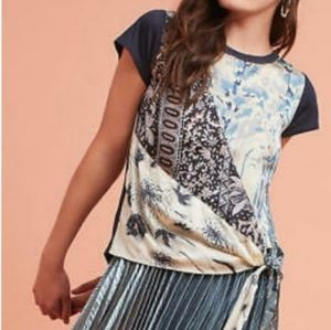 Anthropologie Prism Wrapped Tie Front Tee